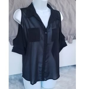 Black button down sheer cold shoulder relaxed top